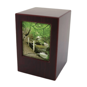 The cherry wood photo urn is one of the most popular wood cremation urns